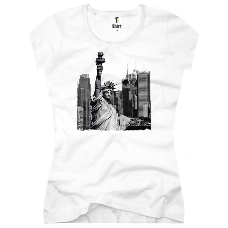 Wolkenkratzer Damen T-Shirt USA Amerika Freiheitsstatue Skyline New York State of Liberty 223