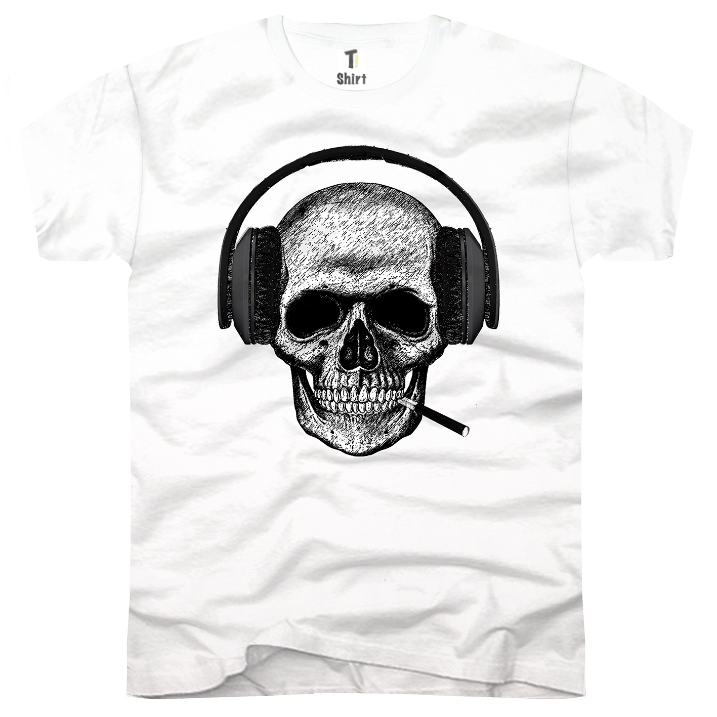 headset totenkopf t shirt f r herren coole motiv auf ti. Black Bedroom Furniture Sets. Home Design Ideas
