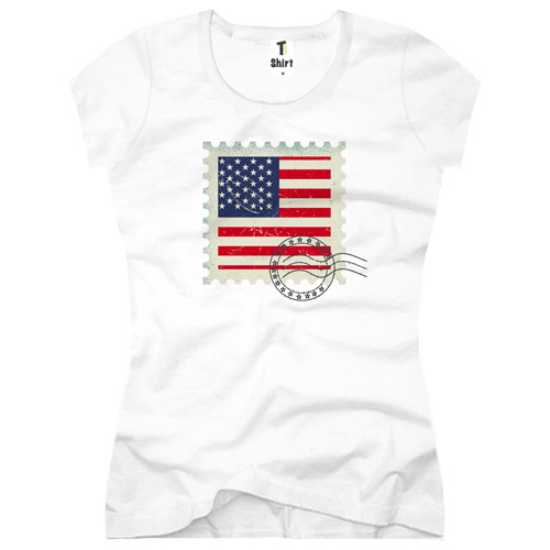 Briefmarke-T-Shirt USA Flagge
