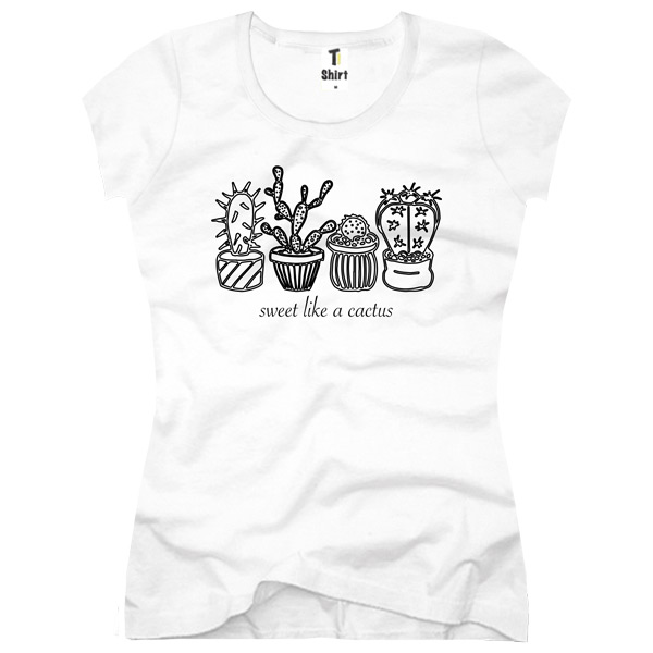 cactus motiv t shirt f r damen mit coolem druck. Black Bedroom Furniture Sets. Home Design Ideas